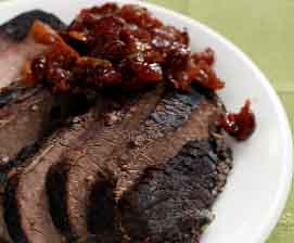 brisket with onion confit and pomegranate glaze