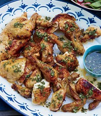 Lolas Lechen Style Marinated Chicken with Chimichurri Sauce. A121002_FW_BillKim_4thJuly_July2013