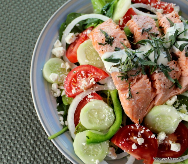 roastedsalmon-greeksalad