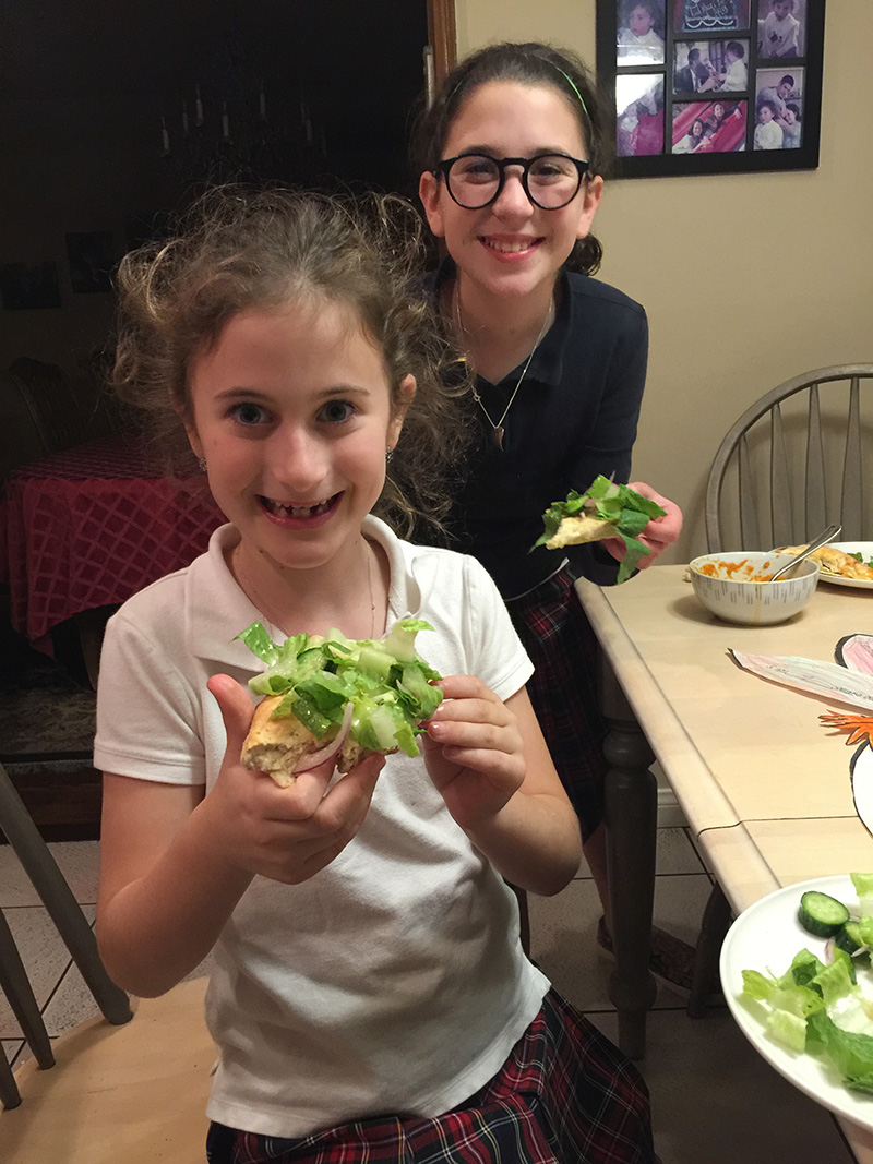 Talia and Adina from Los Angeles, making Pizza Salad